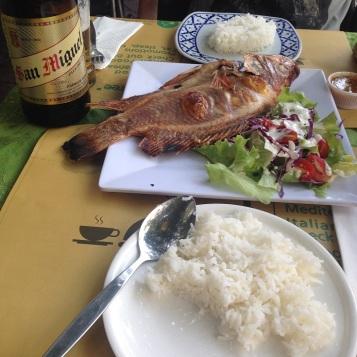 Bangcoc - Green House: peixe grelhado com arroz branco