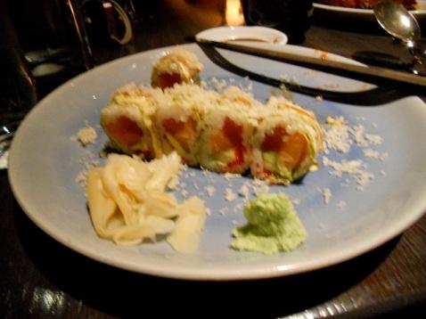 Chef 's Roll with Tuna, Salmon, Tobiko, Avocado