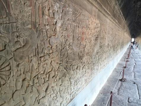 Detalhes nas paredes do Angkor Wat