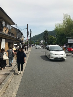 Rua principal próxima à Floresta de bambu